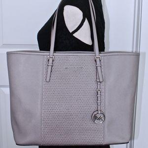 MICHAEL KORS Grey Studded Saffiano Leather Bag